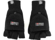 FRANKLIN & MARSHALL - Unisex πλεκτά γάντια FRANKLIN & MARSHALL μαύρα