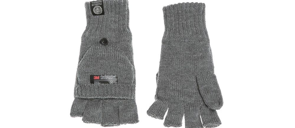 FRANKLIN & MARSHALL - Πλεκτά γάντια FRANKLIN & MARSHALL γκρι