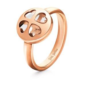 FOLLI FOLLIE - Γυναικείο επιχρυσωμένο ροζ δαχτυλίδι HEART4HEART WIN με κρυστάλλινες καρδιές