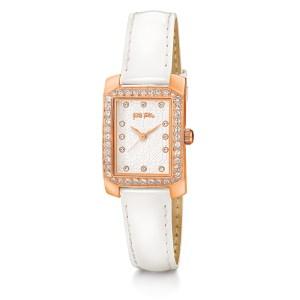 FOLLI FOLLIE - Γυναικείο ρολόι με δερμάτινο λουράκι FOLLI FOLLIE DAISY λευκό