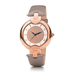 FOLLI FOLLIE - Γυναικείο ρολόι με δερμάτινο λουράκι FOLLI FOLLIE SAND REFLECTIONS γκρι
