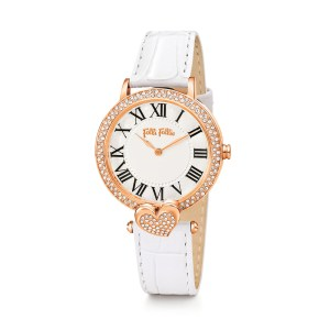 FOLLI FOLLIE - Γυναικείο ρολόι με δερμάτινο λουράκι FOLLI FOLLIE LOVE&FORTUNE λευκό