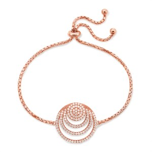 FOLLI FOLLIE - Γυναικείο ασημένιο βραχιόλι FOLLI FOLLIE CYCLOS ροζ χρυσό