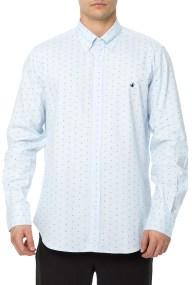 BROOKSFIELD - Ανδρικό μακρυμάνικο πουκάμισο BROOKSFIELD γαλάζιο με μοτίβο
