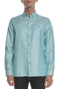 TED BAKER - Ανδρικό λινό πουκάμισο TED BAKER πράσινο
