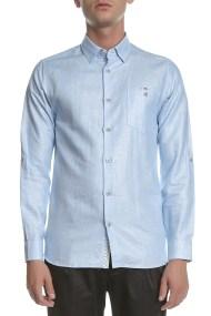 TED BAKER - Ανδρικό μακρυμάνικο λινό πουκάμισο TED BAKER JAAMES γαλάζιο