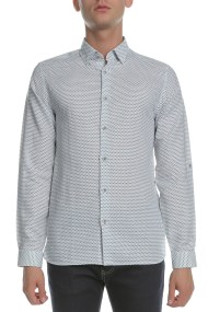 TED BAKER - Ανδρικό μακρυμάνικο λινό πουκάμισο TED BAKER MIROBE λευκό με print