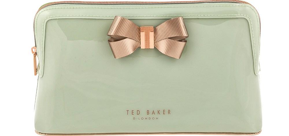 TED BAKER - Γυναικείο νεσεσέρ LIBBERT BOW WASHBAG TED BAKER χακί