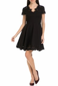 TED BAKER - Γυναικείο μίνι φόρεμα SALOANE V NECK EMBROIDERED SKATER μαύρο