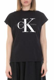 CALVIN KLEIN JEANS - Γυναικεία κοντομάνικη μπλούζα Calvin Klein Jeans μαύρη