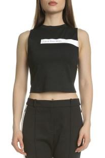CALVIN KLEIN JEANS - Γυναικεία αμάνικη crop μπλούζα Calvin Klein Jeans μαύρη