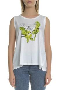 GUESS - Γυναικεία αμάνικη μπλούζα Guess λευκή