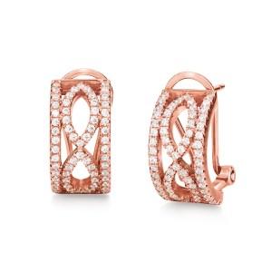 FOLLI FOLLIE - Ασημένια σκουλαρίκια FOLLI FOLLIE ροζ-χρυσά