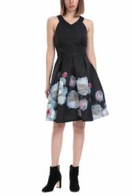 TED BAKER - Γυναικείο φόρεμα JELINA TED BAKER μαύρο-εμπριμέ