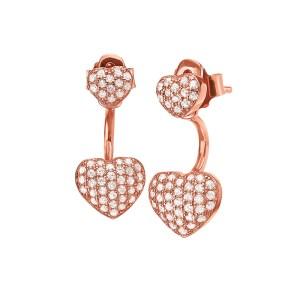 FOLLI FOLLIE - Ασημένια κοντά σκουλαρίκια καρδιές FOLLI FOLLIE ροζ-χρυσά
