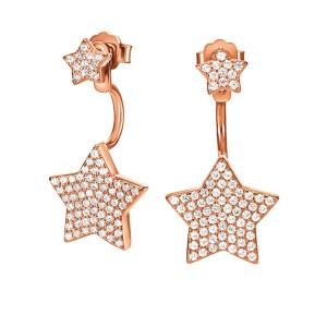 FOLLI FOLLIE - Γυναικεία ασημένια σκουλαρίκια 2 σε 1 FOLLI FOLLIE FASHIONABLY SILVER STORIES ροζ χρυσά