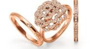 FOLLI FOLLIE - Επίχρυσο σετ από 3 δαχτυλίδια FOLLI FOLLIE ροζ-χρυσά