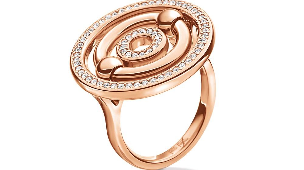 FOLLI FOLLIE - Γυναικείο επιχρυσωμένο ροζ μικρό δαχτυλίδι BONDS με κύκλους & κρυστάλλινες πέτρες