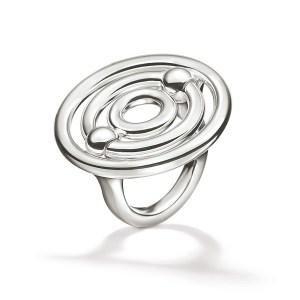 FOLLI FOLLIE - Γυναικείο επάργυρο μεγάλο δαχτυλίδι με κύκλους FOLLI FOLLIE BONDS ασημί