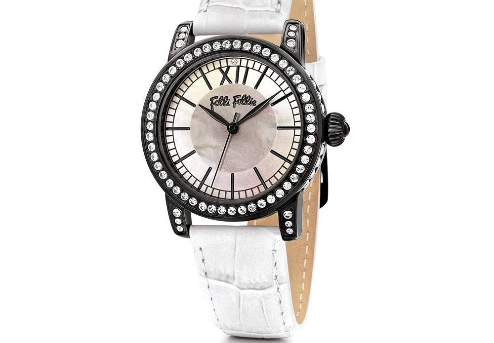 FOLLI FOLLIE - Γυναικείο ρολόι Folli Follie με δερμάτινο λουράκι άσπρο