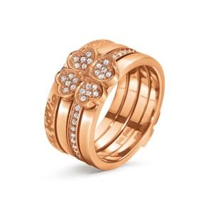 FOLLI FOLLIE - Γυναικείο επίχρυσο τριπλό δαχτυλίδι FOLLI FOLLIE ETERNAL HEART