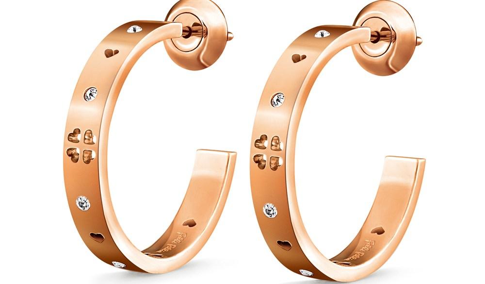 FOLLI FOLLIE - Γυναικείοι μικροί κρίκοι σκουλαρίκια με κρυστάλλινες πέτρες LOVE&FORTUNE χρυσό-ροζ