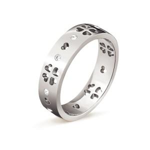 FOLLI FOLLIE - Γυναικείο επάργυρο δαχτυλίδι με κρυστάλλινες καρδιές LOVE&FORTUNE ασημί