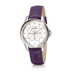 FOLLI FOLLIE - Γυναικείο ρολόι με δερμάτινο λουράκι FOLLI FOLLIE HEART 4 HEART μωβ