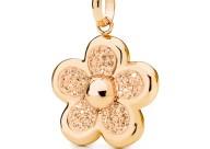 FOLLI FOLLIE - Επιχρυσωμένο ροζ παντατίφ λουλούδι Folli Follie DI FIORI με champaign κρυστάλλινες πέτρες