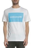 CALVIN KLEIN JEANS - Ανδρική κοντομάνικη μπλούζα CALVIN KLEIN JEANS INSTITUTIONAL BOX LOGO λευκή-μπλε