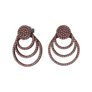 FOLLI FOLLIE - Γυναικεία ασημένια σκουλαρίκια FOLLI FOLLIE CYCLOS μαύρα
