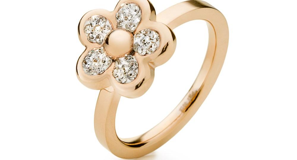 FOLLI FOLLIE - Γυναικείο δαχτυλίδι με λουλούδι & κρυστάλλινες πέτρες FOLLIE DI FIORI επιχρυσωμένο ροζ