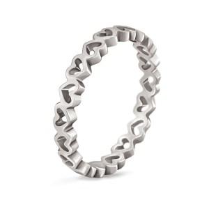 FOLLI FOLLIE - Γυναικείο επάργυρο δαχτυλίδι με καρδιές LOVE&FORTUNE ασημί