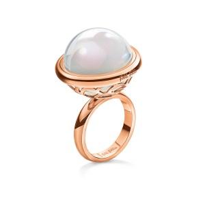 FOLLI FOLLIE - Γυναικείο επιχρυσωμένο ροζ δαχτυλίδι ORBIT με λευκή πέτρα