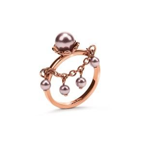 FOLLI FOLLIE - Γυναικείο δαχτυλίδι με πέρλα & κρεμαστή αλυσίδα FLEUR MUSE επιχρυσωμένο ροζ