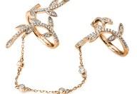 FOLLI FOLLIE - Γυναικείο διπλό δαχτυλίδι με αλυσίδα FOLLI FOLLIE ροζ-χρυσό