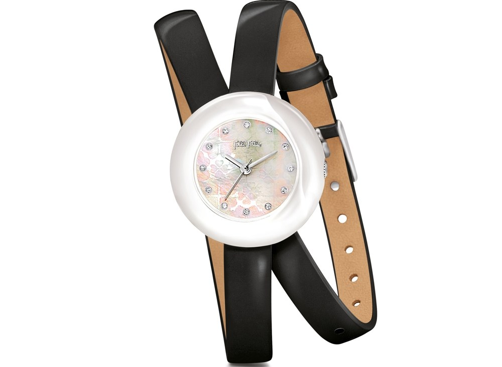 FOLLI FOLLIE - Γυναικείο ρολόι Folli Follie με διπλό δερμάτινο λουράκι μαύρο