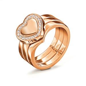 FOLLI FOLLIE - Γυναικείο επίχρυσο τριπλό δαχτυλίδι PLAYFUL HEARTS με καρδιές