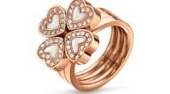 FOLLI FOLLIE - Σετ από 3 δαχτυλίδια με καρδιές FOLLI FOLLIE ροζ-χρυσά