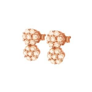 FOLLI FOLLIE - Ασημένια καρφωτά σκουλαρίκια FOLLI FOLLIE ροζ-χρυσά