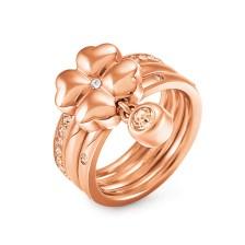 FOLLI FOLLIE - Επιχρυσωμένο ροζ τριπλό δαχτυλίδι Folli Follie HEART 4 HEART