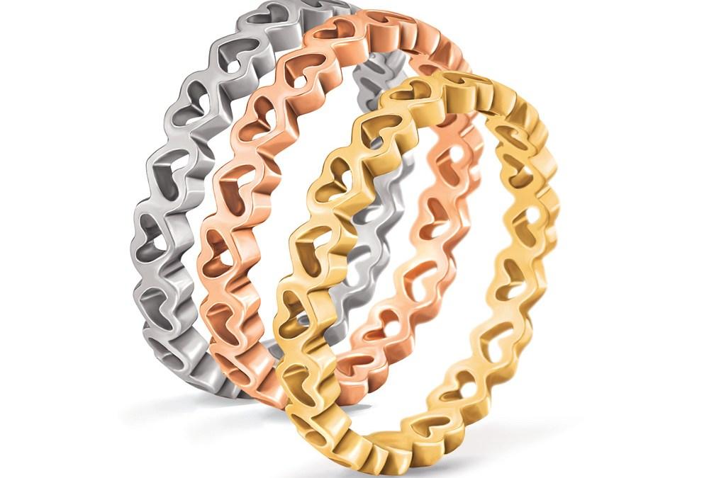 FOLLI FOLLIE - Σετ από 3 δαχτυλίδια με καρδιές LOVE&FORTUNE ασημί, επίχρυσο & κίτρινο