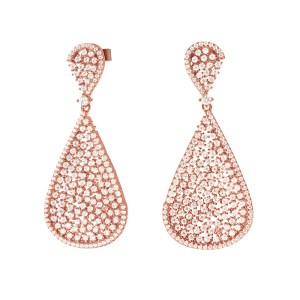 FOLLI FOLLIE - Γυναικεία ασημένια σκουλαρίκια FOLLI FOLLIE SPARKLE CHIC ροζ χρυσά
