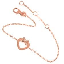 JEWELTUDE - Ασημένιο ρόζ επιχρυσωμένο βραχιόλι Καρδιά