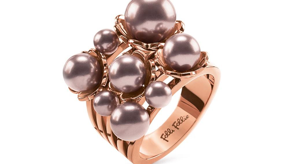 FOLLI FOLLIE - Γυναικείο επίχρυσο δαχτυλίδι FLEUR MUSE με ροζ πέρλες