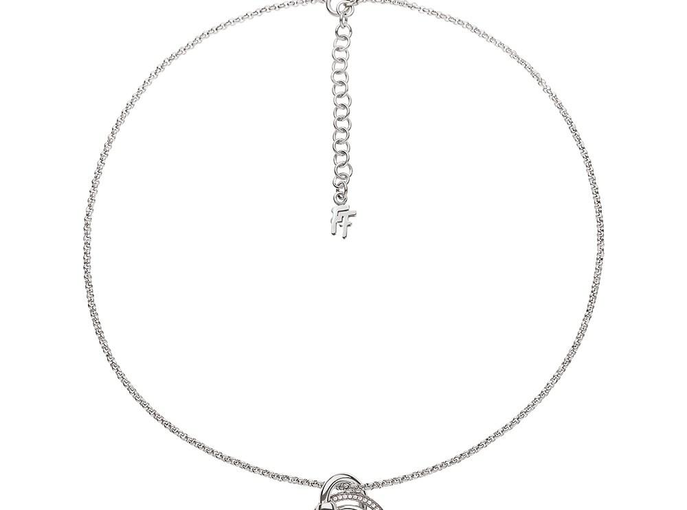 FOLLI FOLLIE - Γυναικείο επάργυρο κοντό κολιέ με κρίκους & κρυστάλλινες πέτρες BONDS ασημί