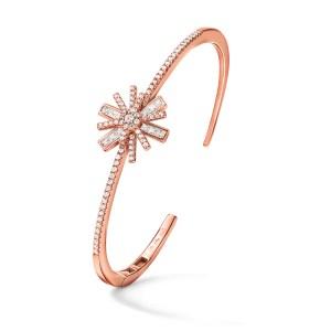 FOLLI FOLLIE - Γυναικείο ασημένιο βραχιόλι FOLLI FOLLIE STAR FLOWER ροζ χρυσό