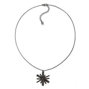 FOLLI FOLLIE - Γυναικείο ασημένιο κολιέ FOLLI FOLLIE STAR FLOWER μαύρο