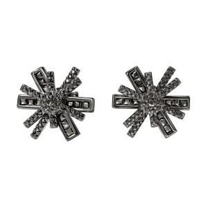 FOLLI FOLLIE - Γυναικεία ασημένια σκουλαρίκια FOLLI FOLLIE STAR FLOWER μαύρα