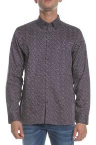 TED BAKER - Ανδρικό μακρυμάνικο πουκάμισο THORNTO LS μοβ με φλοράλ μοτίβο